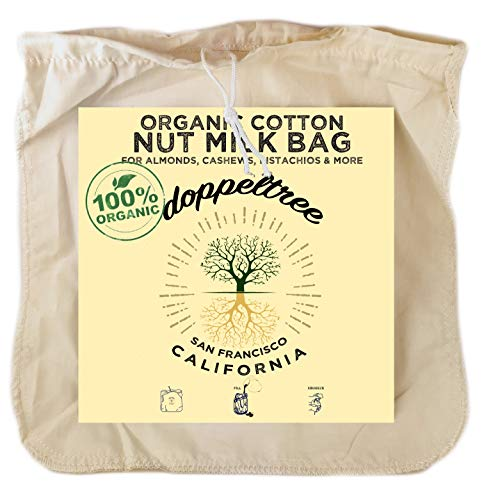 (1-Pack) Large 12in x 12in Premium Organic Cotton Reusable Nut Milk Bag - Designed in San Francisco - Fine Mesh Strainer for Almond, Soy, Cashew, Yogurt, Tofu Press, with EasyOpen Drawstring