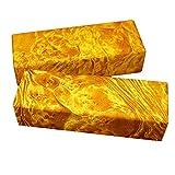 Aibote 1 par de Escalas de Losas de Mango de Cuchillo de Madera de Alcanfor Dorado de Birmania Material de Bricolaje Personalizado Para Hacer Cuchillos(12x4x1CM) (cada uno es único)