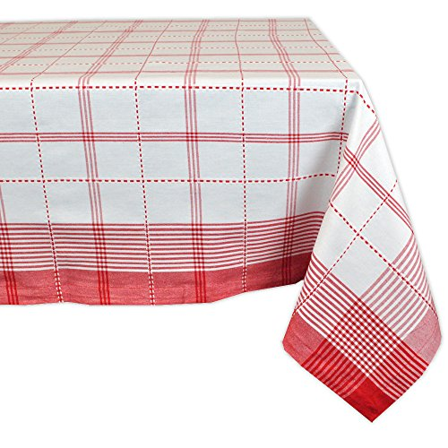 """Country Plaid Square Tablecloth, 100% Cotton with 1/2"""" Hem (60x120"""" - Seats 10 to 12)"""