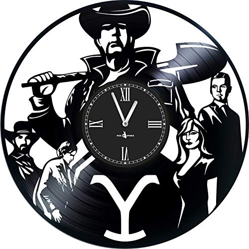 Wall Clock Vinyl Record Compatible with Yellowstone - 12 inch - Made in Europe - Precision Silent Quartz Movement - Best Gift for Fans Film Yellowstone - Original Design - Home Decoration