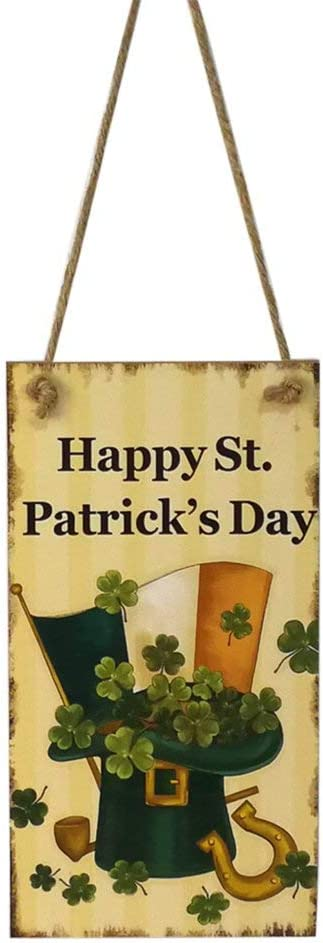 BinaryABC St.Patrick's Day Wooden Sign Plaque Door Wall Hanging Decorations(Happy St. Patrick's Day)