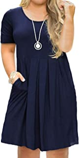 Tralilbee Women's Plus Size Short Sleeve Dress Casual...