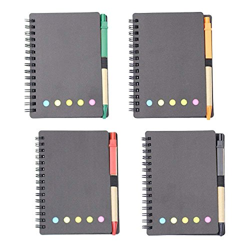 M-Aimee 4 Sets Spiral Notebook Kraft Paper Cover Steno Pocket Notepad with Pen in Holder, Sticky Notes and Page Marker Index Tabs Flags, 3.3 x 5.3 inches (Black)