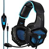 SADES SA807PLUS Stereo Gaming Headset Noise Cancelling Over Ear Headphones with Mic, Bass Surround, Soft Memory Earmuffs for PS4, PC, Xbox One Controller, Laptop Mac Nintendo Switch Games