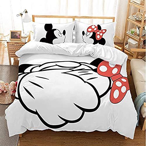 QWAS Disney Mickey y Minnie - Juego de ropa de cama con impresión digital 3D de tres piezas, funda nórdica y funda de almohada, microfibra, 1,135 x 200 cm + 50 x 75 cm x 2)