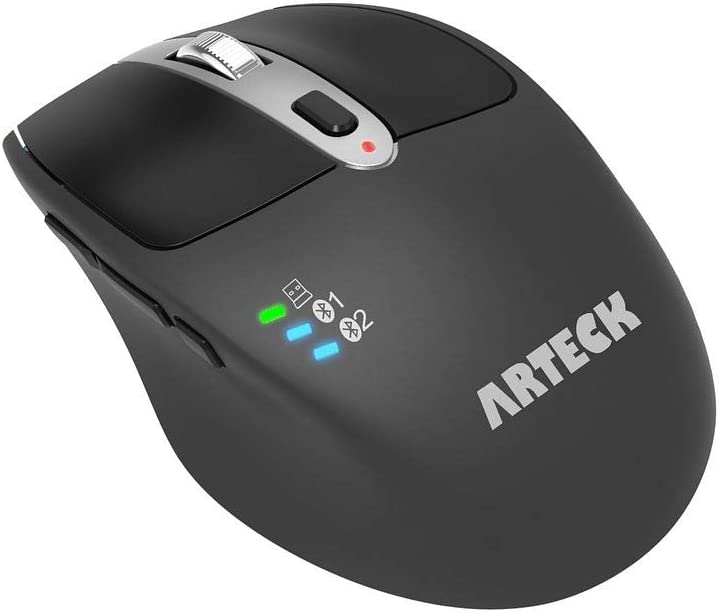 Arteck Multi-Device Wireless Bluetooth Mouse with Nano USB Receiver Ergonomic Right Hand Silent Clicking for Computer Desktop PC Laptop Mac iPad and Windows 10/8 iPad OS Build in Rechargeable Battery