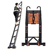 xewneg scale telescopiche scaletta telescopica in alluminio resistente, con pedali e ruote antiscivolo, ladder a soppalco industriale del tetto portatile, carico 150 kg(size: 3.9m(12.8ft))