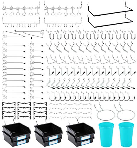 Pegboard Hooks, with Bins, Peg Locks, for Organizing Various Tools, 204 PCS, 80 of Which are Locks