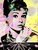N\A Pintura por números para adultos, regalo para amigos, pintura de bricolaje hermosa Audrey Hepburn 40 x 50 cm