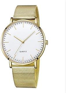 WISH عارضة حزام الفولاذ بسيط السيدات الإناث روز الذهب أنيقة الاتصال زوجين ووتش رقيقة جدا، بسيطة الأصفر