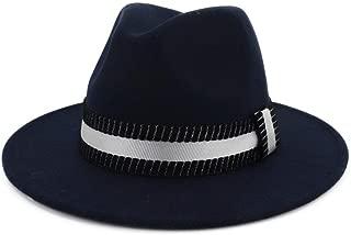 Bin Zhang Men Women Fedora Hat With Black White Belt Panama Jazz Hat Wide Brim Hat Size 56-58CM