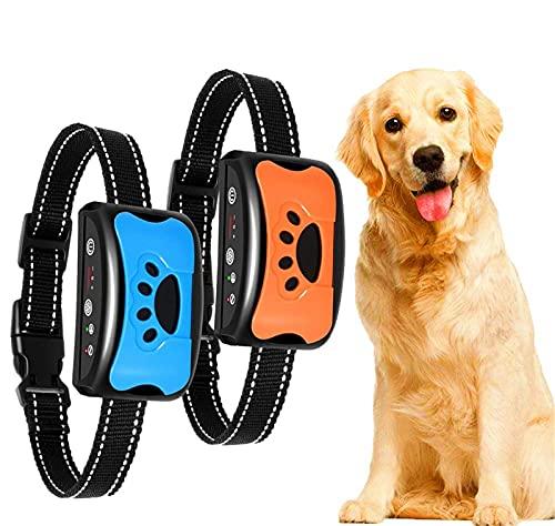 Anti-Bell-Halsband, Erziehungshalsband Hund Nylon Halsband Hundehalsbänder mit Vibration, Sound Automatisches Anti-Bell-Hundehalsband für Kleine, Mittelgroße und Große Hund Training Blau Orange