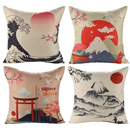 Kissenbezug 45 x 45 cm Baumwolle Leinen Kissenhülle Taille Wurf Kopfkissenbezug für Hause Sofa, Schlafzimmer Dekoration, 4 Stück Set-Japanese Style B
