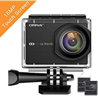 Campark 4K 16MP WiFi Sports Action Camera with 2 Batteries and Mounting Accessory Kits