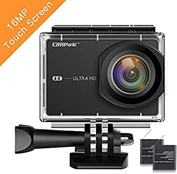 Campark 4K 16MP WiFi Sports Action Camera w/2 Batteries & Mounting Kits