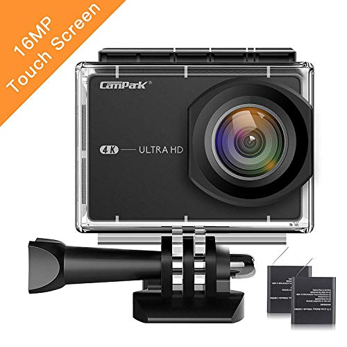 Campark 4K Action Camera 16MP WiFi Sports Cam,2.26 Inch Touch Screen,170° Wide Angle Lens with 2 Batteries and Mounting Accessory Kits
