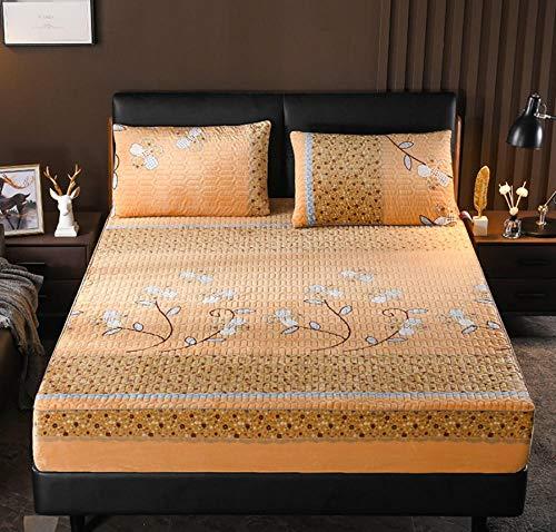 XLMHZP Protector de colchón Impermeable Acolchado en Relieve de Color sólido Funda Estilo sábana Ajustable para colchón Almohadilla Suave Gruesa para Cama-I_120cmx200cm+30cm