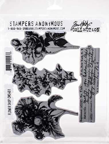Tim Holtz - Stampers Anon Cling RBBR Stamp Set FLWR, Flower Shop
