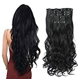 Rosa Star 1-Pack 6pcs 24inch Synthetic Hair Pieces Wavy Curly Full Head Clip In On Hair Extensions Women Lady Hairpiece (Black 1B#)