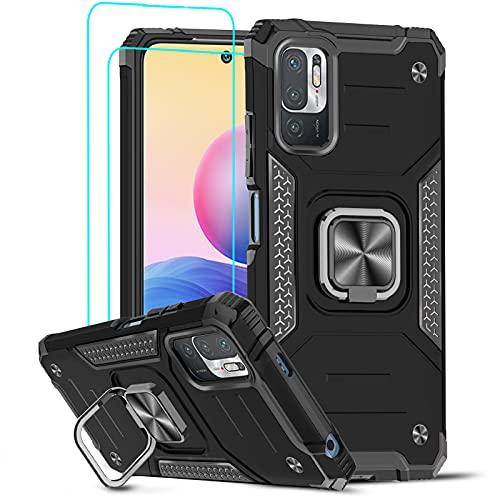 LeYi Hülle für Xiaomi Redmi Note 10 5G/Poco M3 Pro 5G & Panzerglas Schutzfolie (2er), Armor Stoßfest 360 Grad Ring Halter Handyhülle Magnet Slim Silikon Schutzhülle TPU Bumper Cover Hülle Schwarz