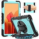Timecity Case Compatible with Samsung Galaxy Tab A7 10.4' 2020 SM-T500/T505/T507, with Built-in Screen Protector&360 Degree Swivel Kickstand&Hand Strap&Shoulder Strap Case for Tab A7-Light Blue