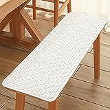 Xpnit Cojín de banco para silla de 2 plazas/3 plazas, interior y exterior, 100/120 cm, cojín de verano para silla de comedor, patio, jardín (150 x 40 cm), color blanco