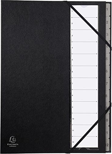 Exacompta 56012E Ordnungsmappe (fester Deckel, Gummizug, dehnbarer Faltenrücken, 12 Fächer mit Kunststofftaben 1-12, Ordonator, Format DIN A4) 1 Stück schwarz