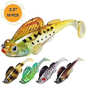"""TRUSCEND Fishing Lures for Bass Trout 3.5"""" Fishing Jig Lures Paddle Tail Swimbaits Soft baits Japan Formula Freshwater Saltwater bass Fishing Lure kit Lifelike Jig Lures"""