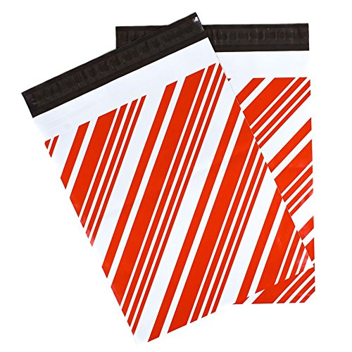Inspired Mailers - Poly Mailers 10x13 - Candy Canes - 100 Pack - 3.15mil Unpadded Holiday Shipping Bags - Christmas Envelopes (10x13, 100 Pack)