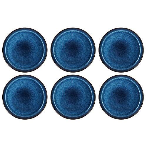 BITZ 821258 Dia Frühstücksteller, Ø 21 cm, Steinzeug, handgearbeitet, schwarz/dunkelblau (6 Stück)