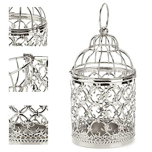 needlid Candelabro, candelabro con Linterna, candelabro de Hierro Vintage para el hogar, para Fiestas, para Bodas, para Interiores(A Silver)