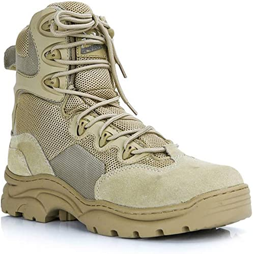 LAFE botas de Combate del Impermeable, botas Altas con Cremallera Lateral, TransPiñable, Resistente al Desgaste, Color Arena negro Dos Colors Libre Cremallera amarillo-43