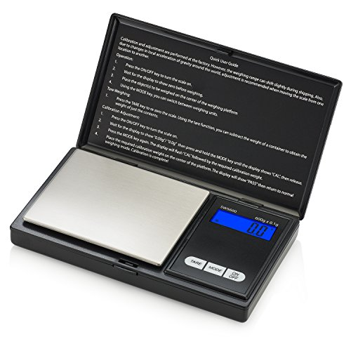 Smart Weigh Digital Pocket Gram Scale 600g x 0.1g, Small Letter Gram Scale, Jewelry Scale, Food Scale, Medicine Scale, Kitchen Scale Black, Battery Included (0.1g Pocket)