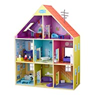 Features 8 different rooms including Hall, Living room, Bathroom, Kitchen, 2 Bedrooms, Study, Playroom. Includes over 20 pieces of furniture Kitchen with glowing cooker and sound FX Includes 2 exclusive articulated Peppa and George Figures (other fig...