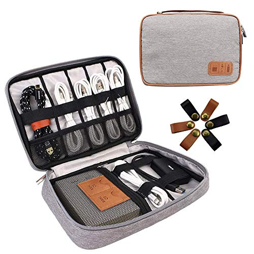Cable Organizer Bag, Travel Electronics Organizer Bag Waterproof Tech Organizer Bag Portable Cord Storage Pouch for Charger,Phone,USB Drive,SD Card,Power Bank with 6pcs Leather Cable Ties (Black)