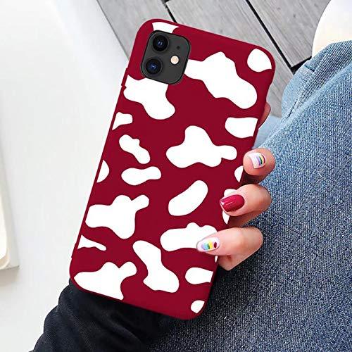 Funda de silicona suave TPU para iPhone 7 8 Plus X X Max SE 2020 cubierta para 12 11 Pro Max XR 6s Plus capa-vino rojo vaca para iPhone XS