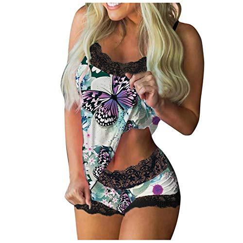 SUMSAYEI Damen Sexy Reizwäsche Erotik Strapse Unterwäsche Erotische Dessous Set mit Schmetterling Drucken Sexy Spitze BH und Slip Spitze Kostüm