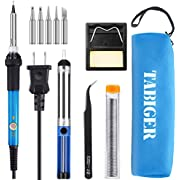 TABIGER Soldering Iron Kit Electronics 60W Adjustable Temperature Welding Tool with 5pcs Soldering Iron Tips, Soldering Iron Stand, Desoldering Pump, Solder Wire, Tweezers and Portable Carry Bag