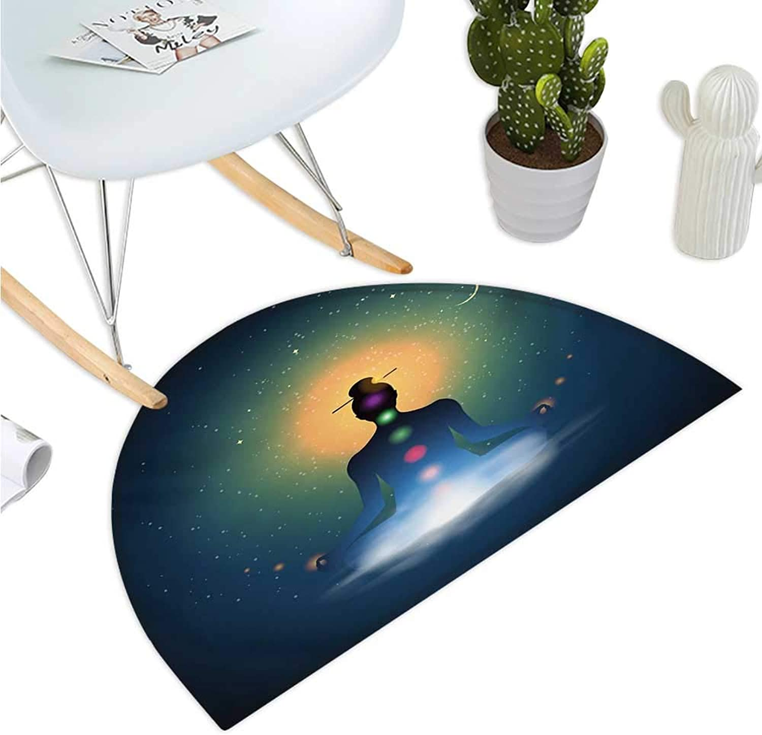 Yoga Semicircular Cushion Meditating Silhouette Sitting in Lotus Position colorful Chakras Trance Mood Happiness Halfmoon doormats H 35.4  xD 53.1  Multicolor