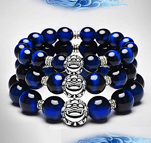 Wsadjkl Alloy Bracelet Feng Shui Pixiu Piyao Bracelet Rare 7A Blue Tiger Eye Stone 925 Pure Silver Beaded Stretchy Crystal Bracelet Healing Chakra Gemstone for Money Luck Motivation Unisex, 14