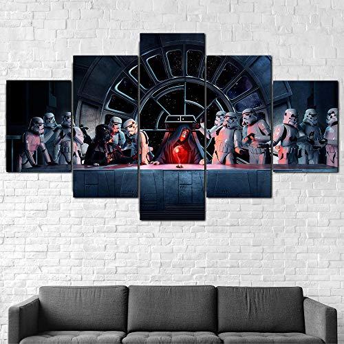 Cuadro En Lienzo 200X100Cm Star Wars Darth Vader Emperador Impresión De 5 Piezas Material Tejido No Tejido Impresión Artística Imagen Gráfica Decor Pared