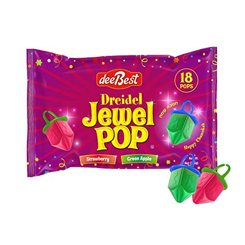 Dee Best Dreidel Jewel Pop Ring Shape Candy - Assorted Apple and Strawberry Flavors - 18 Count Individually Wrapped