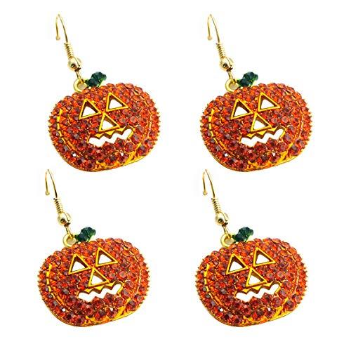 Kürbis Ohrringe, Strass Halloween Lächelndes Gesicht Kürbis Schmuck Baumeln Stud Hohle Ohrringe für Mädchen Frauen Halloween Geschenk 2 Paar