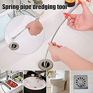 Martinimble Drain Snake,Drain Cleaner Sticks,Pipe Pal Plus,Clog Remover Cleaning Tools,Tub Drain and Kitchen Sink Unblocker Sticks,Spring Pipe Dredging Tools(Size:62cm,Material:pp+Iron Wire)