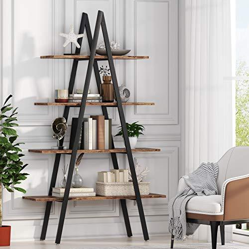 Tribesigns, scaffale per libreria a 4 ripiani con telaio in ferro per casa, soggiorno