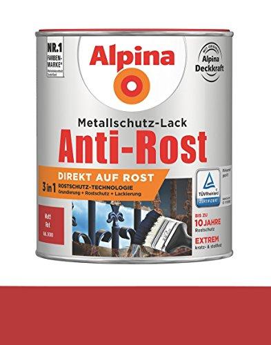 Alpina 750 ml Metallschutz-Lack, 3in1 Direkt auf Rost, RAL 3000 Rot Matt