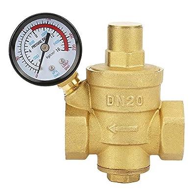 Pressure Reducing Valve, DN20 3/4inch Brass Water Pressure Reducing Valve 3/4'' Adjustable Water Control Pressure Regulator Valve Thread with Gauge Meter by Keenso