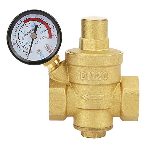 DN20 Water Pressure Regulator Brass, DN20 3/4inch Lead-free Brass 25aub Pressure Reducing Valve 3/4'' Adjustable Water Control Pressure Regulator Valve Thread with Gauge Meter
