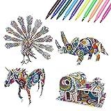 Vicloon Rompecabezas para Colorear 3D, Coloring Puzzle, Kit de Rompecabezas, DIY Arts Crafts Puzzle Kit, Juegos de Rompecabezas Color en 3D para Niños con 4 Animales Rompecabezas con 10 rotuladores
