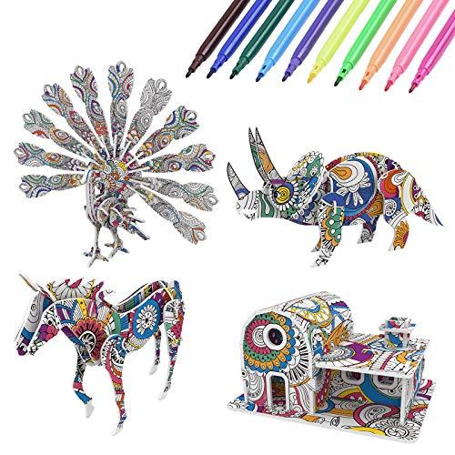 Vicloon 3D Farbpuzzle Kunst, 3D Puzzle mit 4 Puzzles und 10 Stiftmarkierungen, Kunst-Bastelset, Färbung Puzzle für Kinder